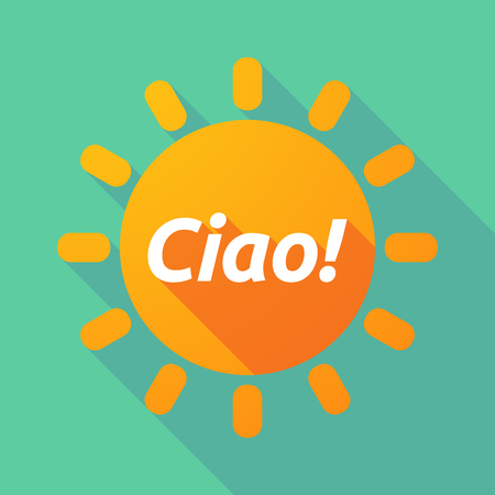 Illustration of a long shadow Sun with  the text Hello! in the Italian language