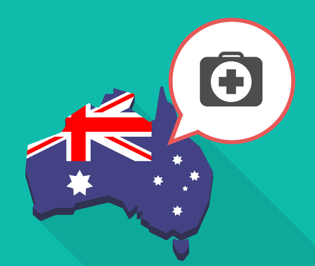 Illustration of a long shadow map of Australia with a comic balloon and  a first aid kit icon