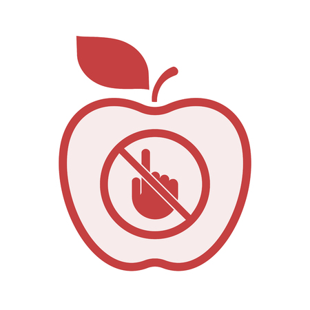 Illustration of an isolated line art apple fruit with  a touching hand  in a not allowed signal