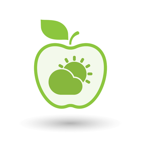Illustration of an isolated line art apple fruit with the Sun shining behind a cloud