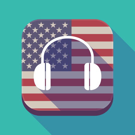 Illustration of a long shadow square app button with the United States of America flag and a earphones