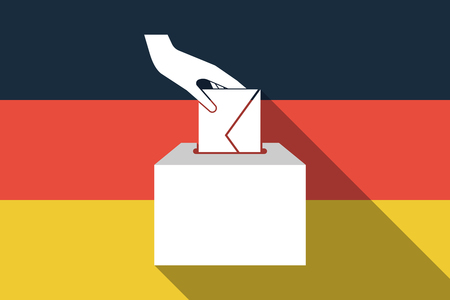 Illustration of a long shadow Germany flag with  a hand inserting an envelope in a ballot box Illustration