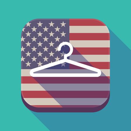 미국 국기와 옷걸이와 긴 그림자 평방 애플 리 케이 션 단추의 그림