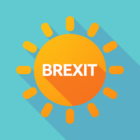 Illustration of a long shadow Sun with  the text BREXIT