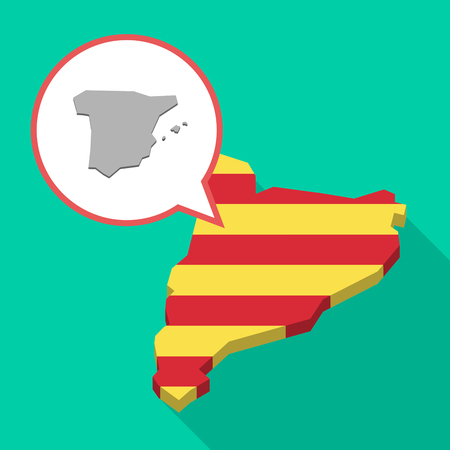 catalonia: Illustration of a long shadow map of Catalonia with a comic balloon and  the map of  Spain