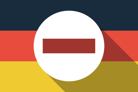 Illustration of a long shadow Germany flag with  a no trespassing signal Illustration