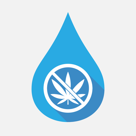 Illustration of an isolated flat color water drop with  a marijuana leaf  in a not allowed signal