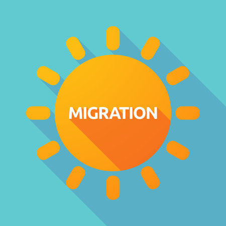 migrate: Illustration of a long shadow Sun with  the text MIGRATION