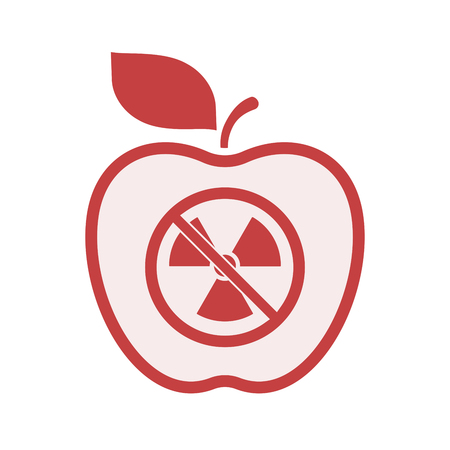 Illustration of an isolated line art apple fruit with  a radioactivity sign  in a not allowed signal