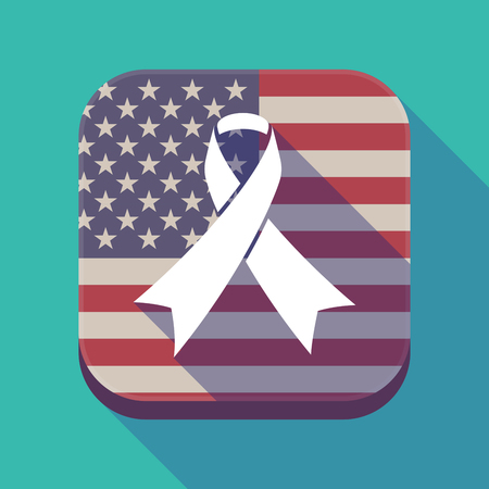 band bar: Illustration of a long shadow square app button with the United States of America flag and an awareness ribbon Illustration