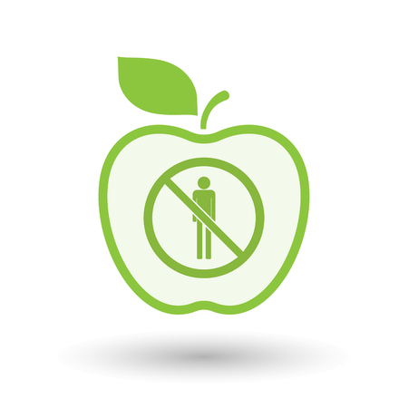 Illustration of an isolated line art apple fruit with  a male pictogram  in a not allowed signal