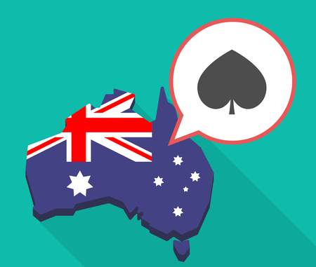 oceania: Illustration of a long shadow map of Australia with a comic balloon and  the  spade  poker playing card sign Illustration