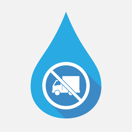 Illustratie van een geïsoleerde, egale kleur waterdruppel met een bestelwagen in een niet toegestaan signaal