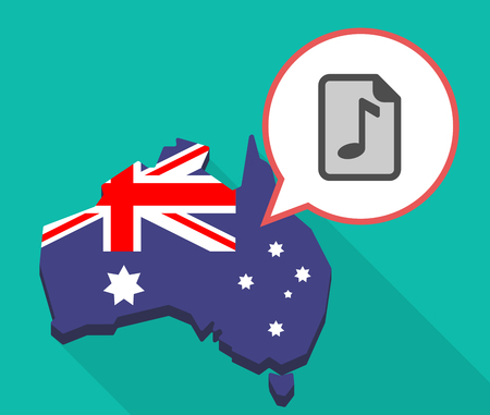 Illustration of a long shadow map of Australia with a comic balloon and  a music score icon Illustration