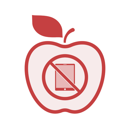 Illustration of an isolated line art apple fruit with  a tablet pc  in a not allowed signal  イラスト・ベクター素材