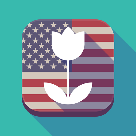 Illustration of a long shadow square app button with the United States of America flag and a tulip