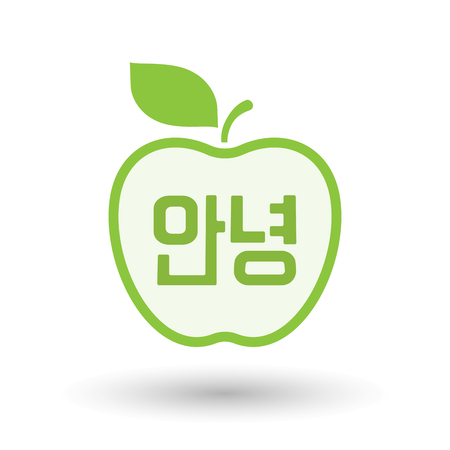 Illustration of an isolated line art apple fruit with  the text Hello in the Korean  language Illustration