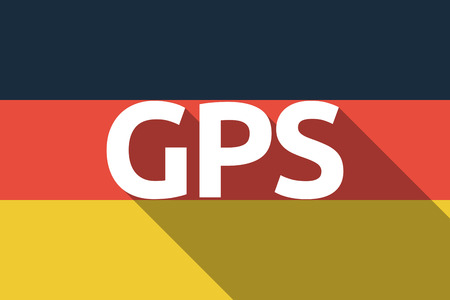 global positioning: Illustration of a long shadow Germany flag with  the Global Positioning System acronym GPS