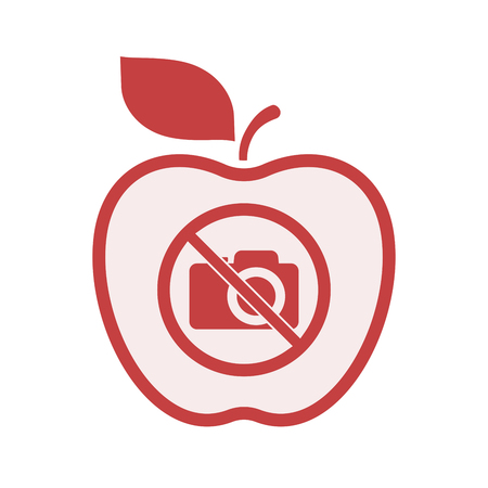 Illustration of an isolated line art apple fruit with  a photo camera  in a not allowed signal Illustration