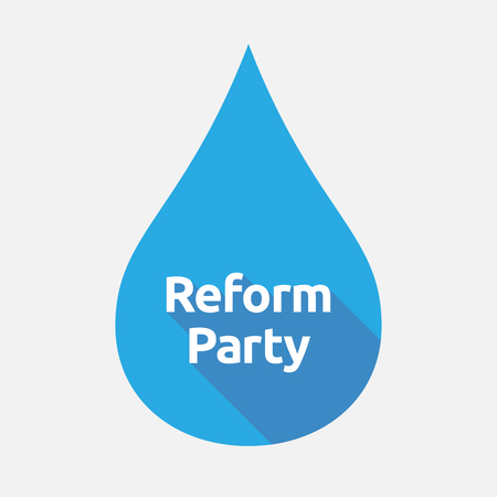 Illustration of an isolated flat color water drop with  the text Reform Party Illustration