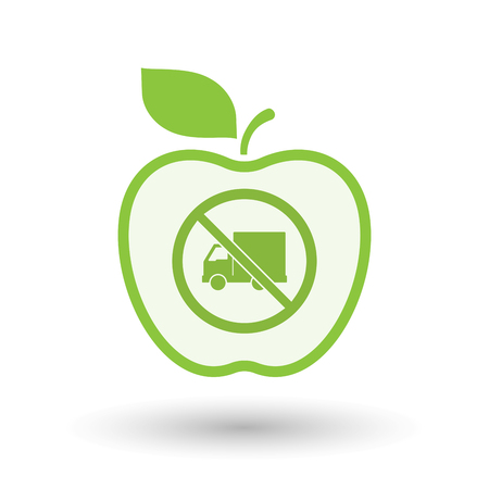 Illustration of an isolated line art apple fruit with  a delivery truck  in a not allowed signal