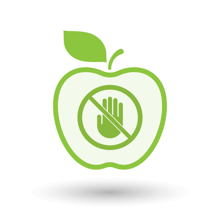 Illustration of an isolated line art apple fruit with  a hand  in a not allowed signal