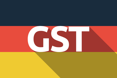 Illustration of a long shadow Germany flag with  the Goods and Service Tax acronym GST Illustration