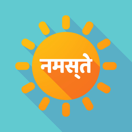 Illustration of a long shadow Sun with  the text Hello in the hindi language