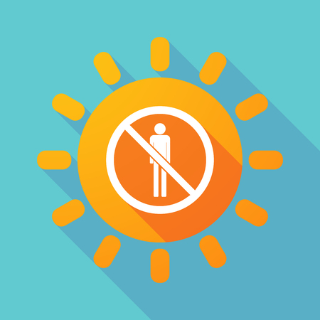 Illustration of a long shadow Sun with  a male pictogram  in a not allowed signal