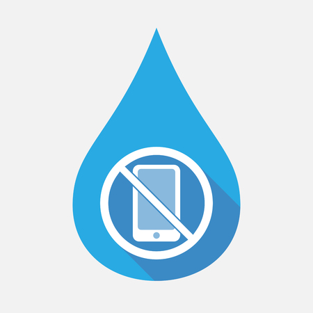 Illustration of an isolated flat color water drop with  a phone  in a not allowed signal Illustration