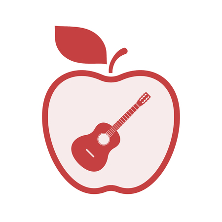 Illustration of an isolated line art apple fruit with  a six string acoustic guitar