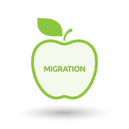Illustration of an isolated line art apple fruit with  the text MIGRATION