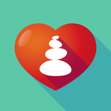 Illustration of a long shadow heart with  a stacked zen stones