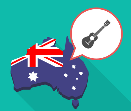 Illustration of a long shadow map of Australia with a comic balloon and  an ukulele Illustration