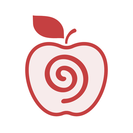 Illustration of an isolated line art apple fruit with  a spiral