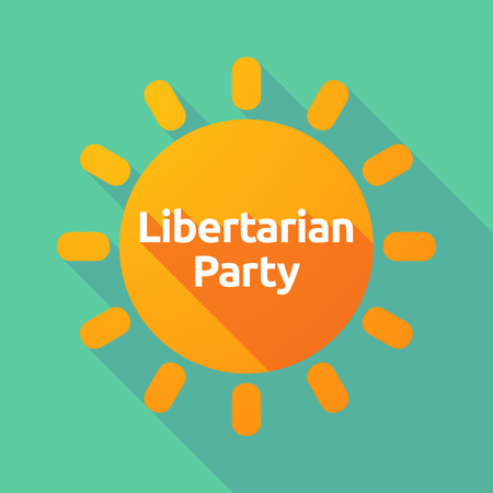 Illustration of a long shadow Sun with  the text Libertarian Party