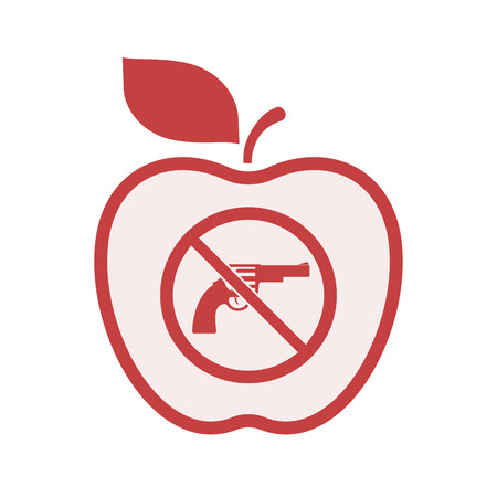 Illustration of an isolated line art apple fruit with  a gun  in a not allowed signal