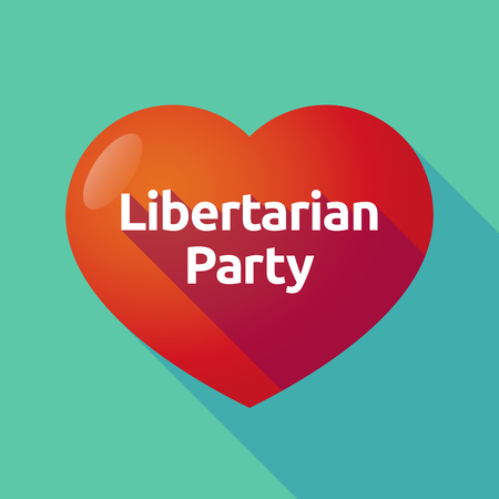 Illustration of a long shadow heart with  the text Libertarian Party