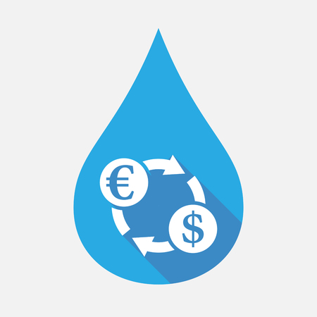 Illustration of an isolated flat color water drop with an euro dollar exchange sign