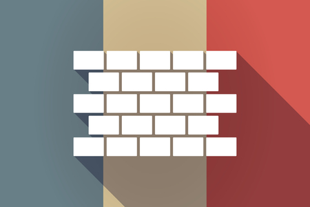 Illustration of a long shadow France flag with  a brick wall