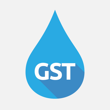 Illustration of an isolated flat color water drop with  the Goods and Service Tax acronym GST