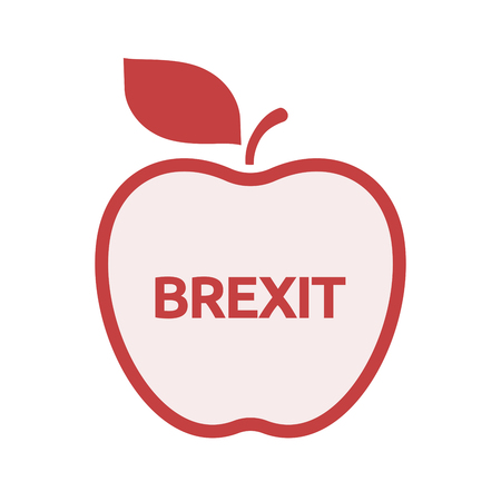 Illustration of an isolated line art apple fruit with  the text BREXIT