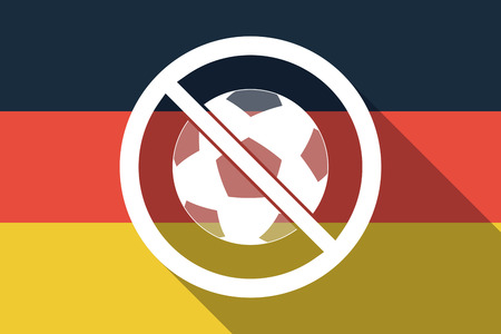 Illustration of a long shadow Germany flag with  a soccer ball  in a not allowed signal Illustration