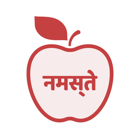 Illustration of an isolated line art apple fruit with  the text Hello in the hindi language