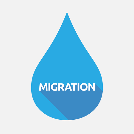 Illustration of an isolated flat color water drop with  the text MIGRATION
