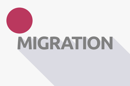 Illustration of a long shadow Japan flag with  the text MIGRATION Illustration