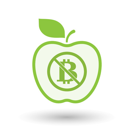 Illustration of an isolated line art apple fruit with  a bitcoin sign  in a not allowed signal