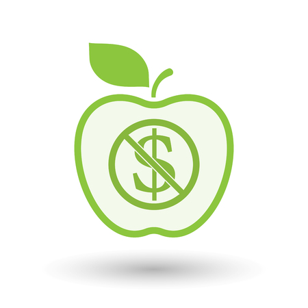 Illustration of an isolated line art apple fruit with  a dollar sign  in a not allowed signal  イラスト・ベクター素材