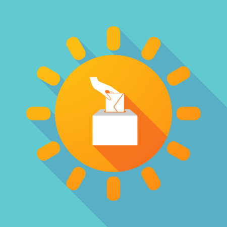 Illustration of a long shadow Sun with  a hand inserting an envelope in a ballot box Illustration