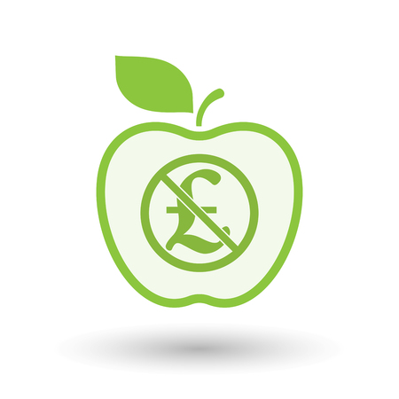 Illustration of an isolated line art apple fruit with  a pound sign  in a not allowed signal Illustration